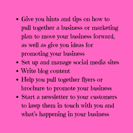 Give you hints and tips on how to pull together a business or marketing plan to move your business forward, as well as give you ideas for promoting your business Set up and manage social media sites Write blog cont